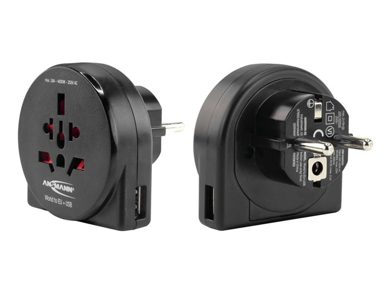 ANSMANN Travel Adaptor World to EU with USB Input - NEW,Travel Power,Travel Adaptors & Accessories