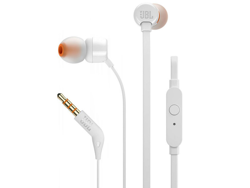 JBL T110, InEar Universal Headphones 1-button Mic/Remote (White)