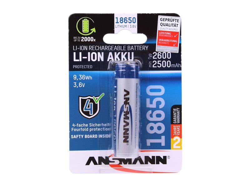 ANSMANN 18650 Lithium-Ion Battery - 2600mAh,Li-Ion Rechargeable Charger & Battery