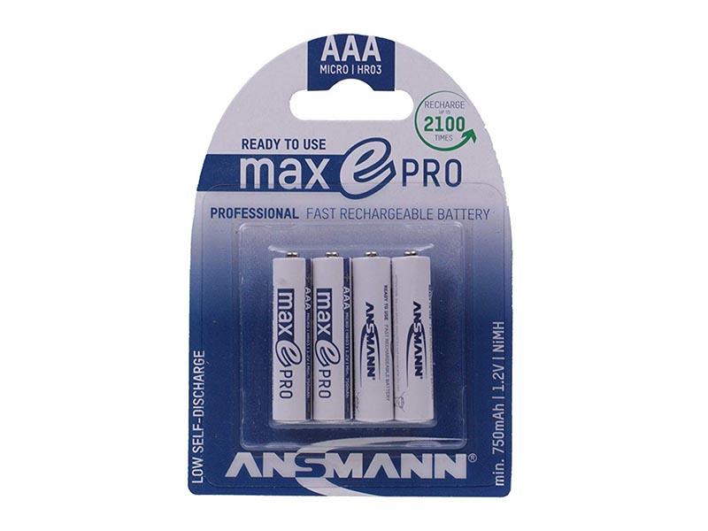ANSMANN Micro - AAA - Pack of 4,NiMH Rechargeable Batteries,NiMH MaxE Pro