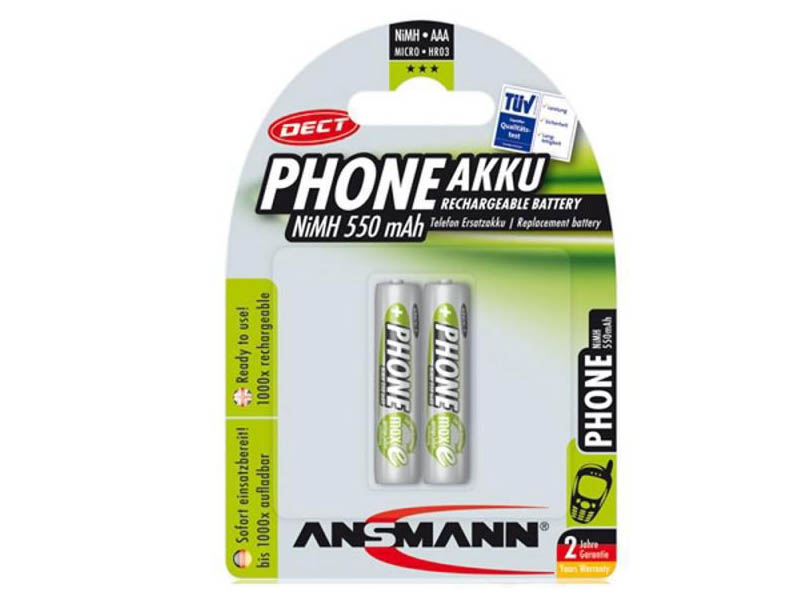 ANSMANN Micro - AAA - Pack of 2,NiMH Rechargeable Batteries,DECT Rechargeable Batteries for Handsets