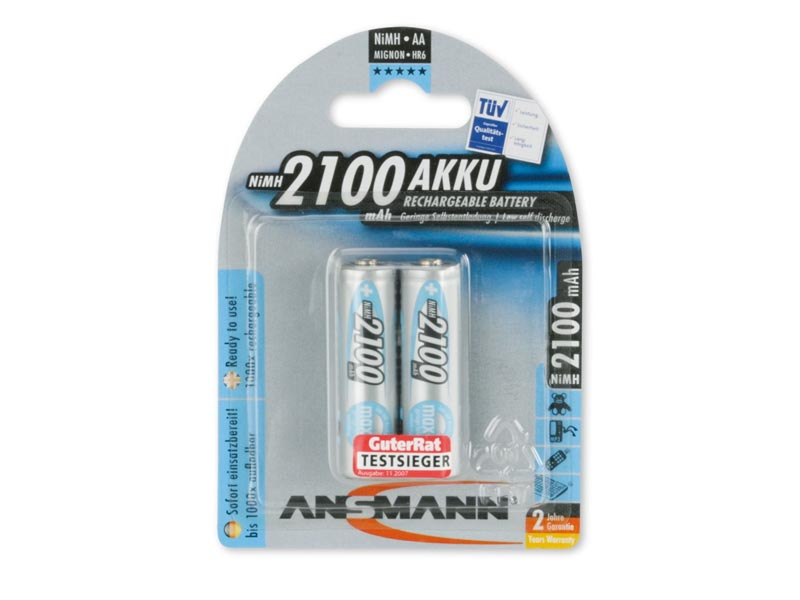 ANSMANN Mignon - AA size - Pack of 2,NiMH Rechargeable Batteries