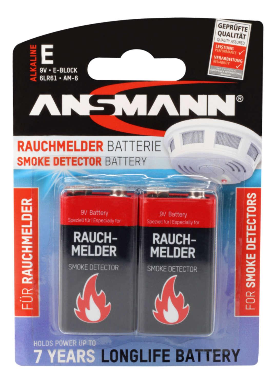 ANSMANN 9V E-Block - Pack of 2,Non - Rechargeable Batteries,Smoke Detector 9V Alkaline Pack