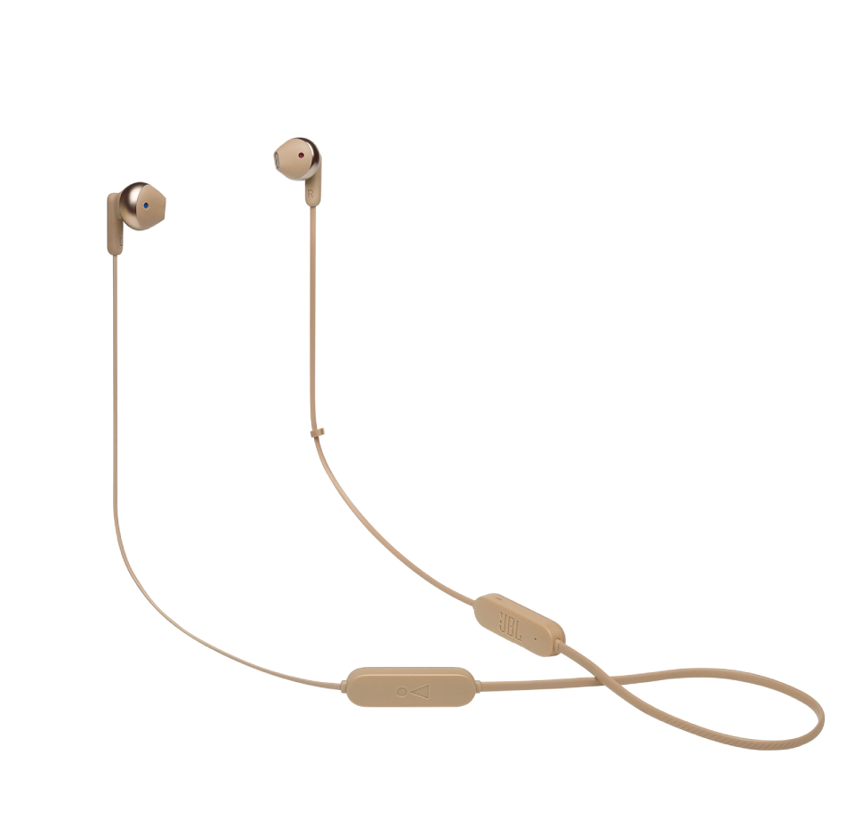 JBL Tune 215BT, Wireless EarBuds 3-button Mic/Remote (Gold)