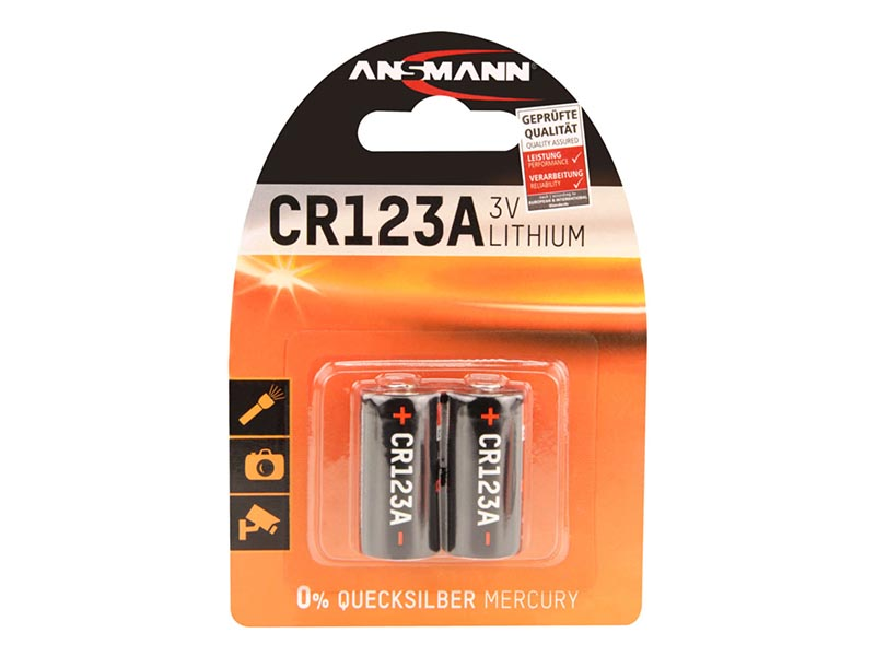 ANSMANN CR123 A - Pack of 2 - NEW,Non - Rechargeable Batteries,Lithium Photocell Range