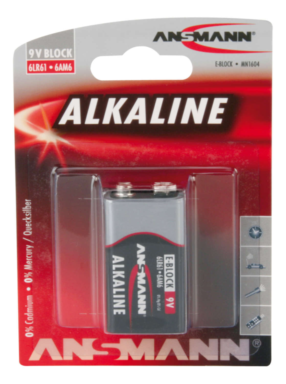 ANSMANN 9V E-Block - Pack of 1,Non - Rechargeable Batteries,Red Line Alkaline Range