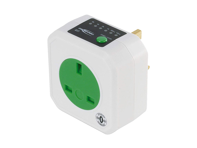 ANSMANN AES1 UK ? Energy Saving Mains Socket Timer, Zero Watt Range, Energy Saving Mains Sockets