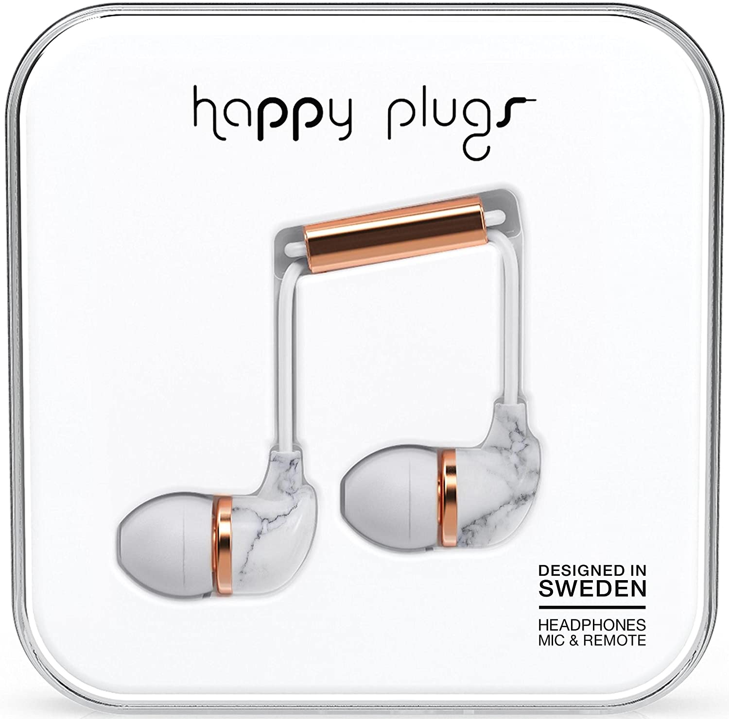 Happy Plugs In-Ear White Marble