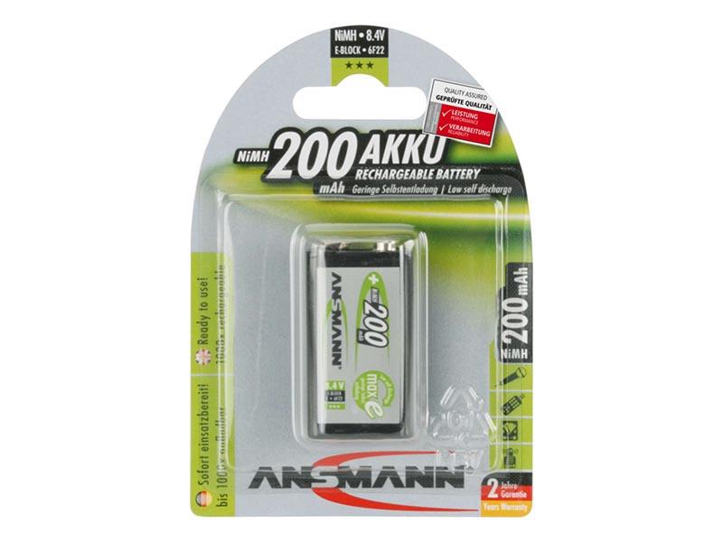 ANSMANN 9V E-Block - Pack of 1 ,NiMH Rechargeable Batteries