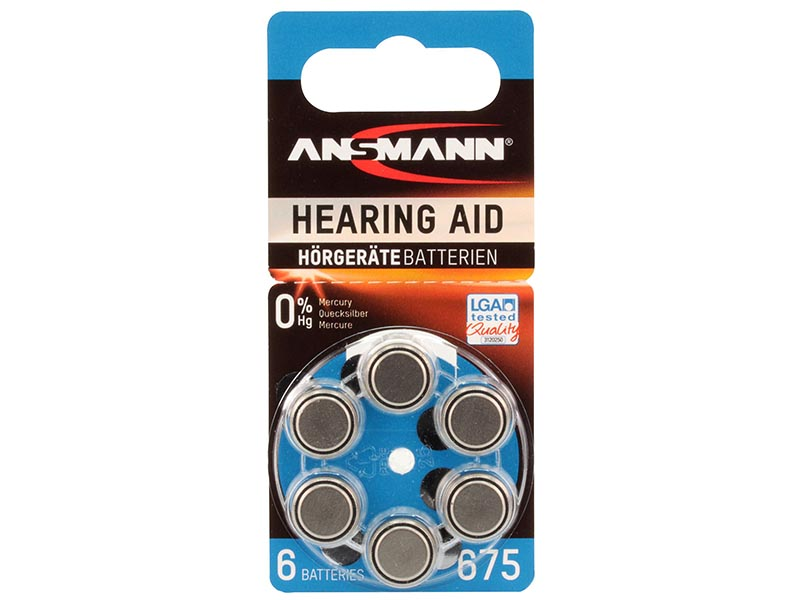 ANSMANN Zinc Air 675 - Pack of 6,Non - Rechargeable Batteries,Hearing Aid Batteries