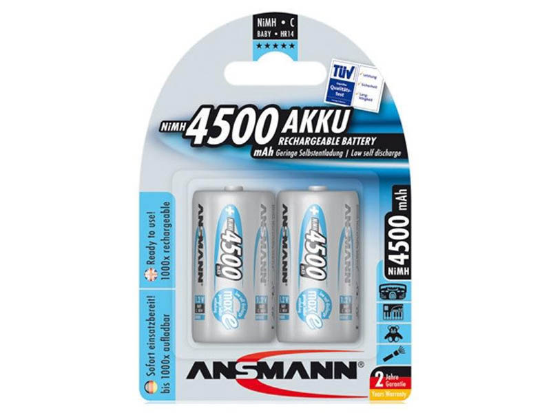 ANSMANN Baby - C size - Pack of 2,NiMH Rechargeable Batteries