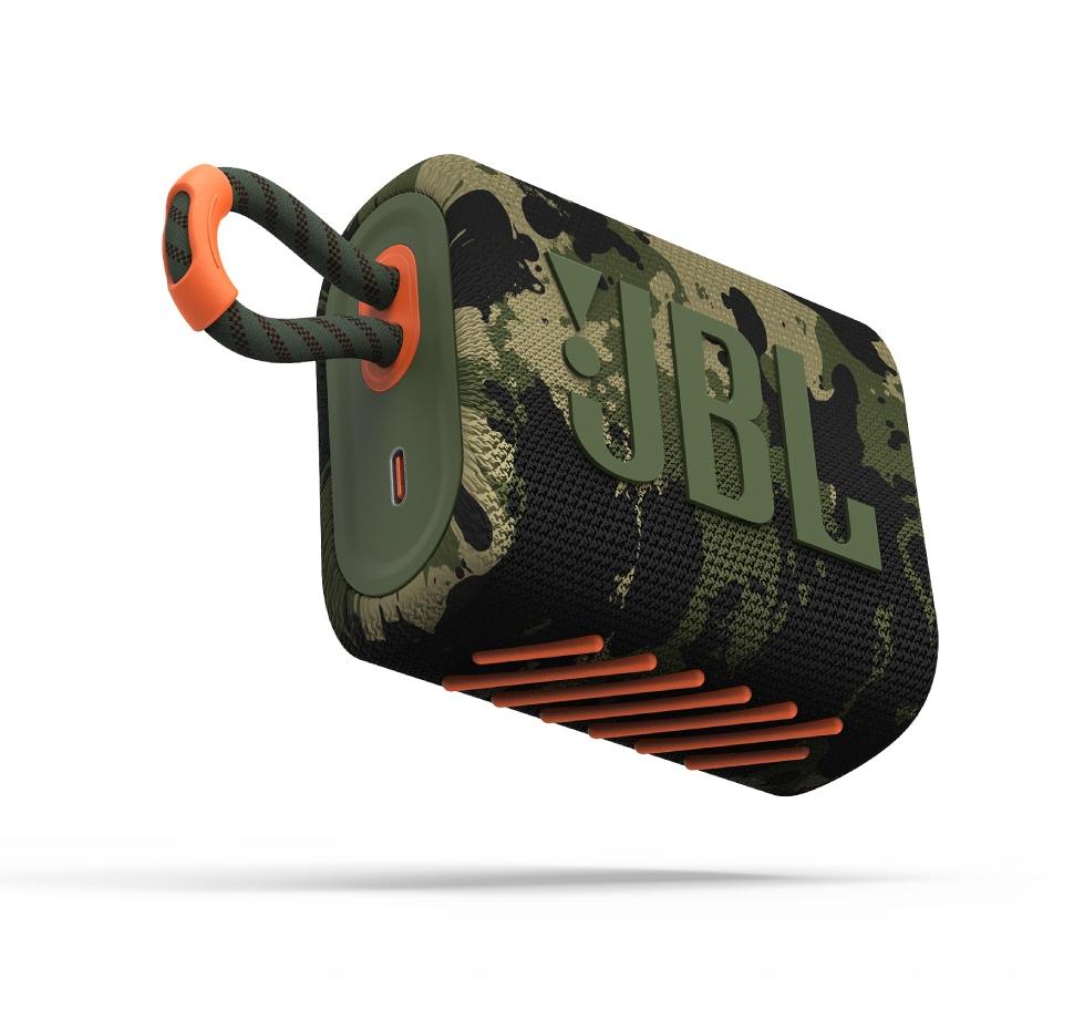 JBL GO3, Portable Bluetooth Speaker, Waterproof IP67, (Squad)