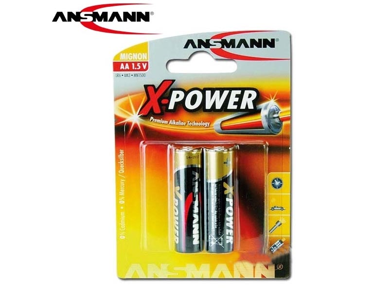 ANSMANN Mignon - AA size - Pack of 2,Non - Rechargeable Batteries,X-Power Alkaline Range