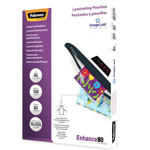 Fellowes LAMINATING POUCH  pack of 100 / A5 80 microns