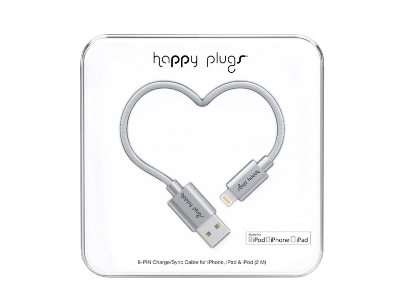 Happy Plugs Lightning to USB Charge/Sync Cable (2.0m) - Space Grey