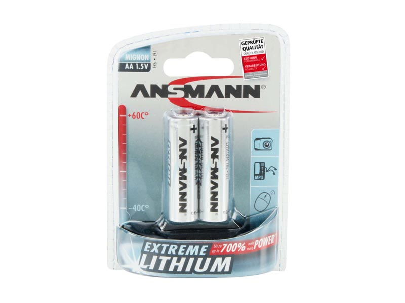 ANSMANN Mignon - AA size - Pack of 2,Non - Rechargeable Batteries,Extreme Lithium Range