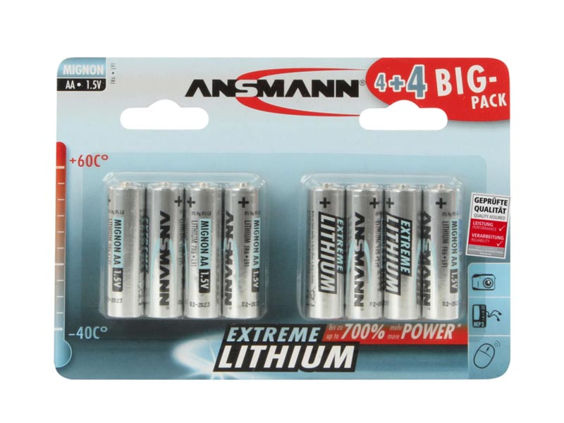 ANSMANN Mignon - AA size - Pack of 8,Non - Rechargeable Batteries,Extreme Lithium Range