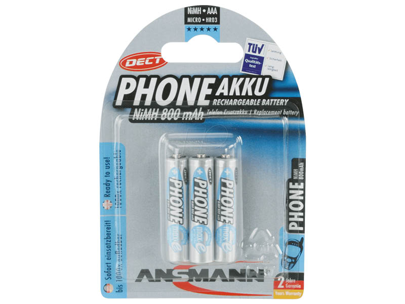 ANSMANN Micro - AAA - Pack of 3,NiMH Rechargeable Batteries,DECT Rechargeable Batteries for Handsets