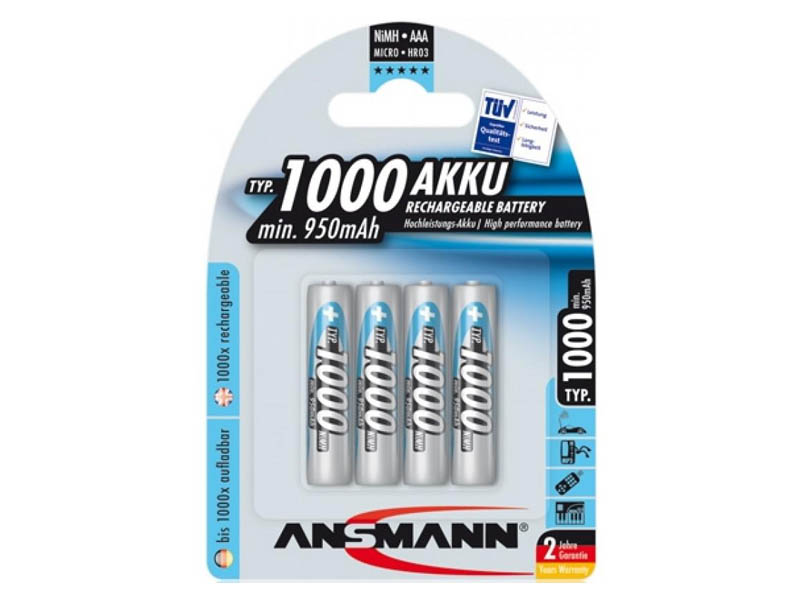 ANSMANN Micro - AAA size - Pack of 4,NiMH Rechargeable Batteries