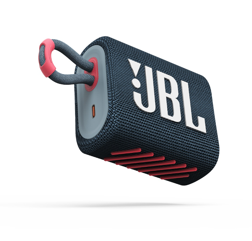 JBL GO3, Portable Bluetooth Speaker, Waterproof IP67, (Blue-Pink)