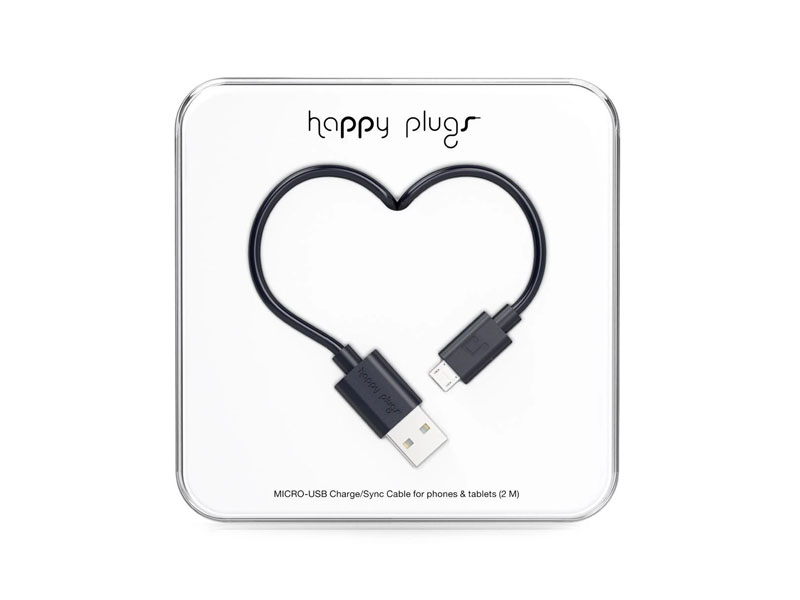 Happy Plugs Micro-USB to USB Charge/Sync Cable (2.0m) - Black
