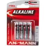 ANSMANN Micro - AAA size - Pack of 4,Non - Rechargeable Batteries,Red Line Alkaline Range