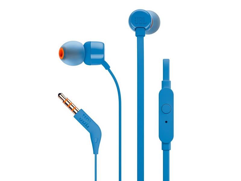 JBL T110, InEar Universal Headphones 1-button Mic/Remote (Blue)