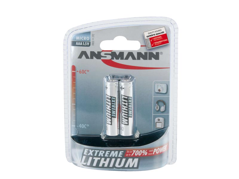ANSMANN Micro - AAA size - Pack of 2,Non - Rechargeable Batteries,Extreme Lithium Range