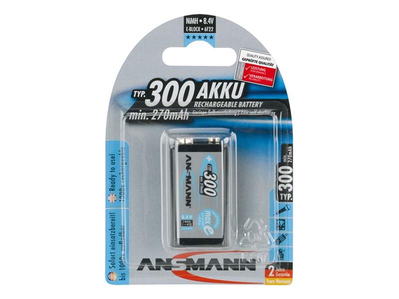 ANSMANN 9V E-Block - Pack of 1,NiMH Rechargeable Batteries