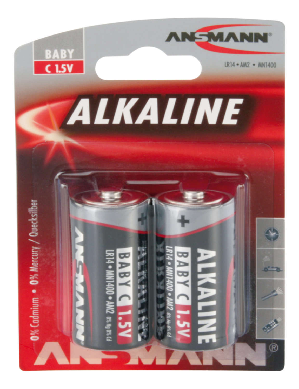 ANSMANN Baby - C size - Pack of 2,Non - Rechargeable Batteries,Red Line Alkaline Range