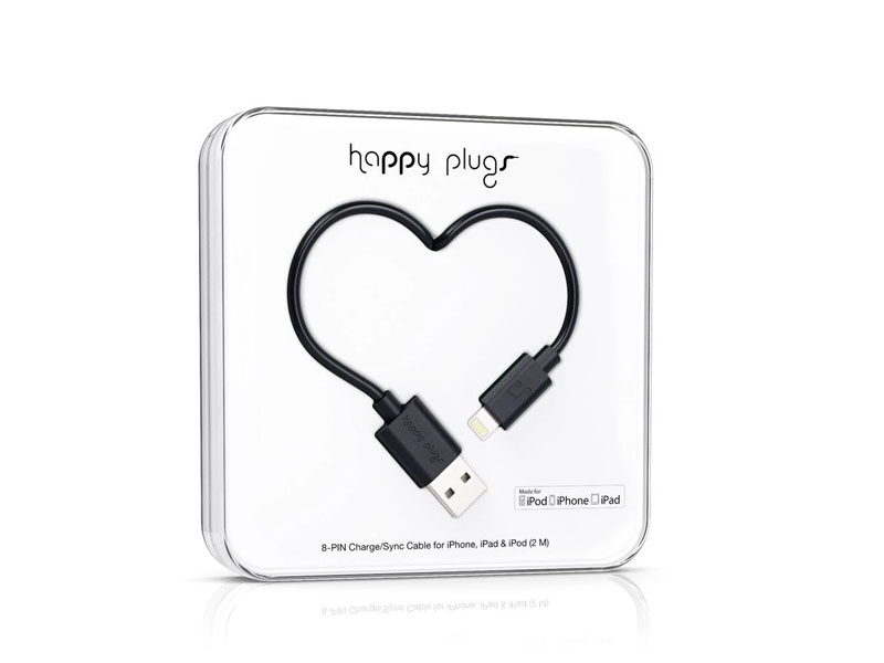 Happy Plugs Lightning to USB Charge/Sync Cable (2.0m) - Black