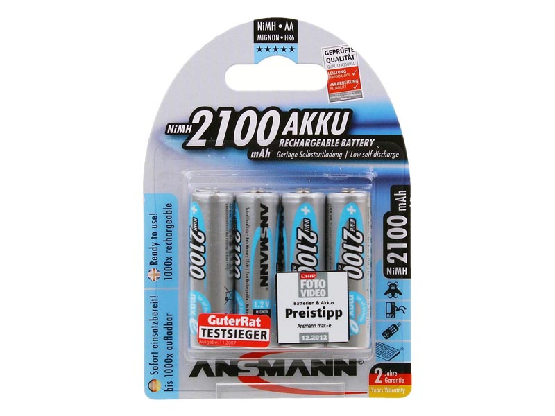 ANSMANN Mignon - AA size - Pack of 4,NiMH Rechargeable Batteries