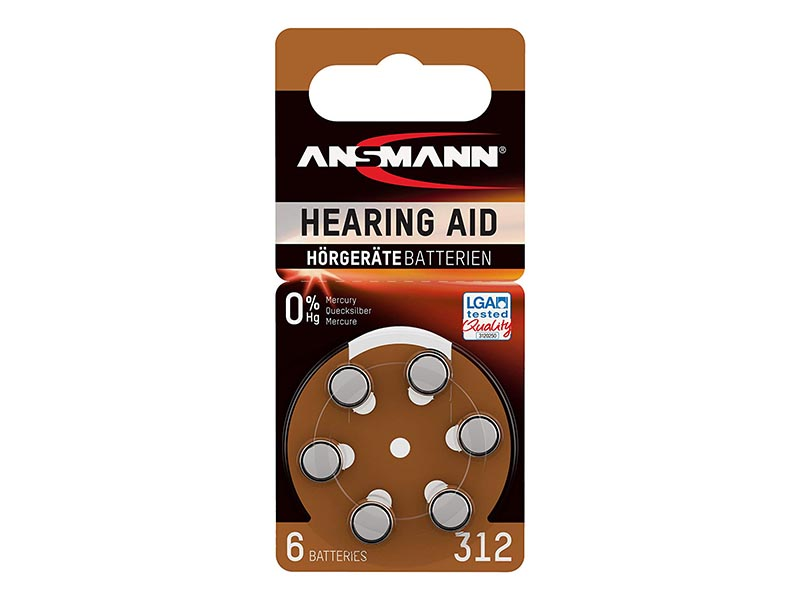 ANSMANN Zinc Air 312 - Pack of 6,Non - Rechargeable Batteries,Hearing Aid Batteries