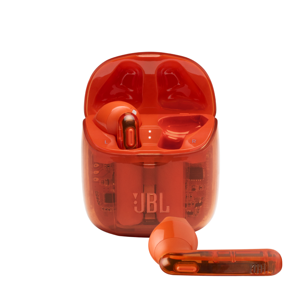 JBL Tune 225TWS, True Wireless Ear-Buds Headphones, (Ghost Orange)