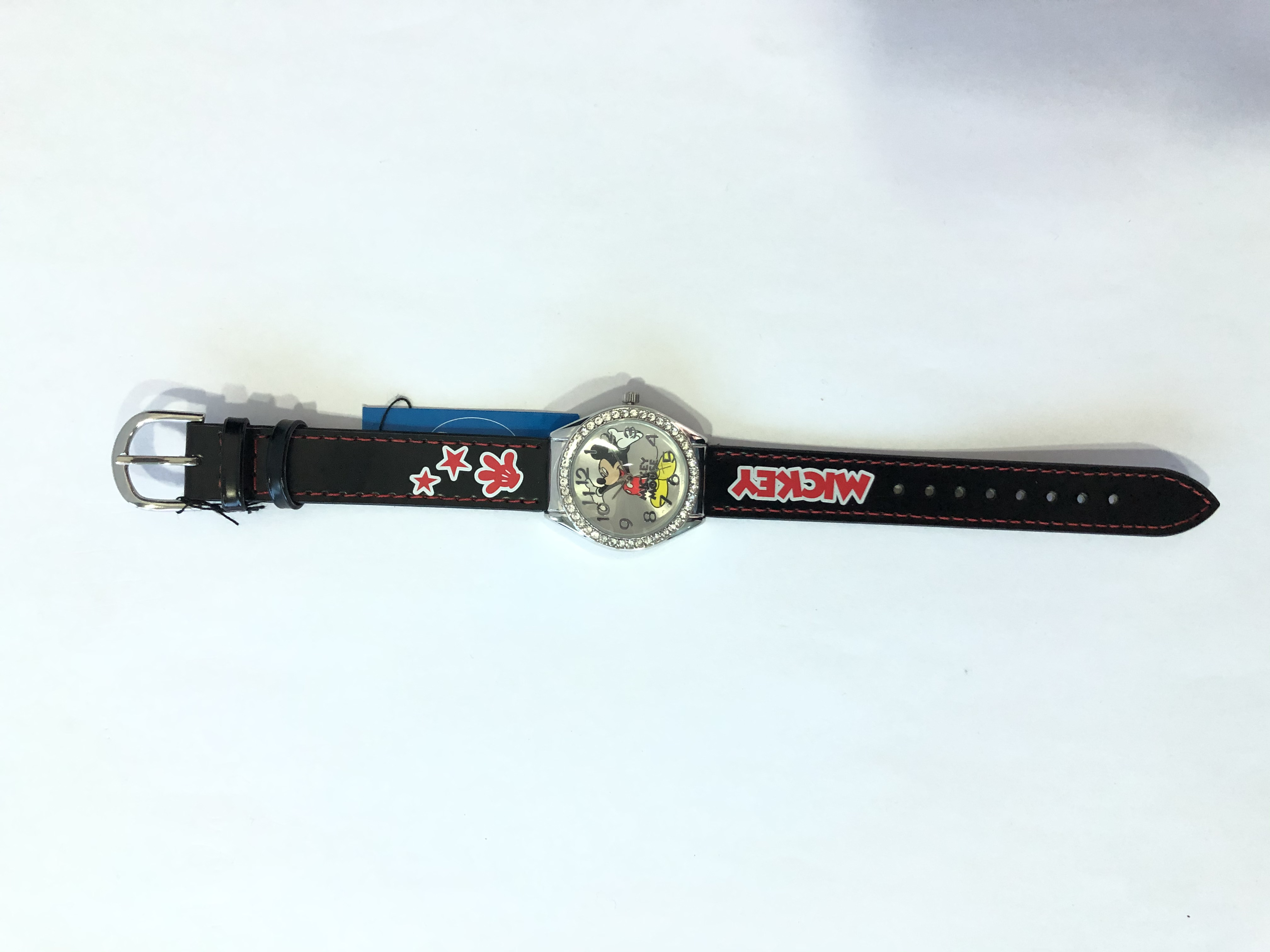 DISNEY WATCH ANALOG 4U  BLACK LEATHER MICKEY MOUSE