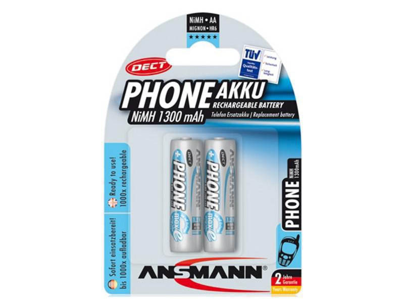 ANSMANN Mignon - AA - Pack of 2,NiMH Rechargeable Batteries,DECT Rechargeable Batteries for Handsets