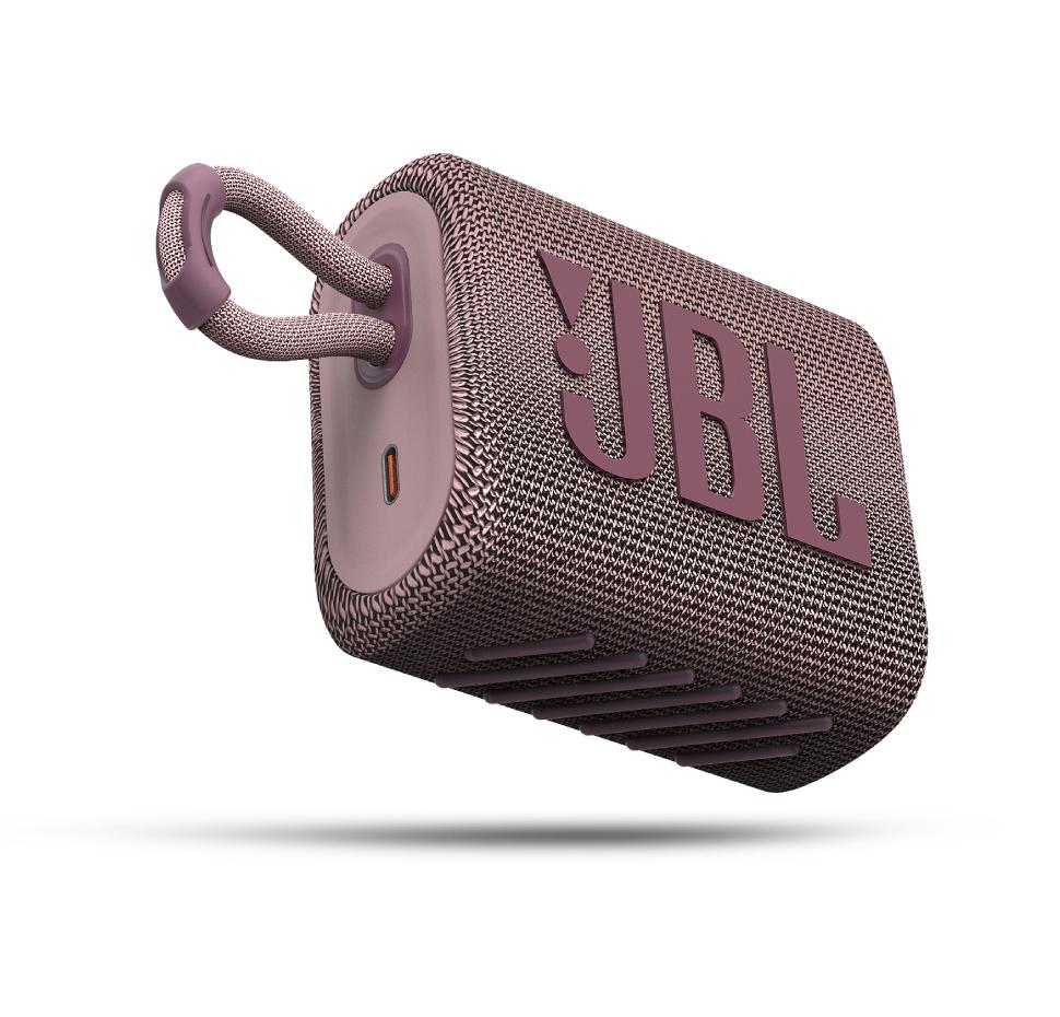 JBL GO3, Portable Bluetooth Speaker, Waterproof IP67, (Pink)