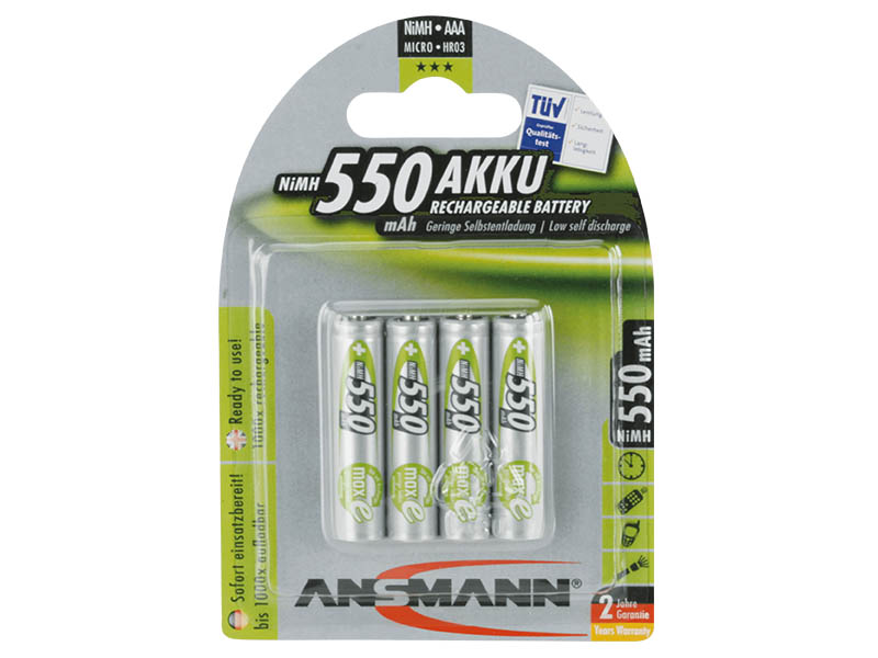 ANSMANN Micro - AAA size - Pack of 4, NiMH Rechargeable Batteries