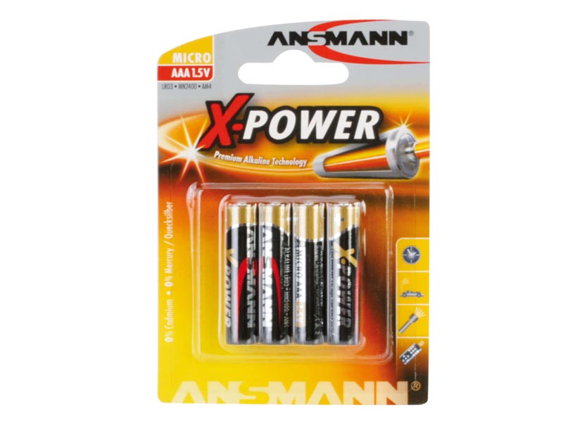ANSMANN Micro - AAA size - Pack of 4,Non - Rechargeable Batteries,X-Power Alkaline Range
