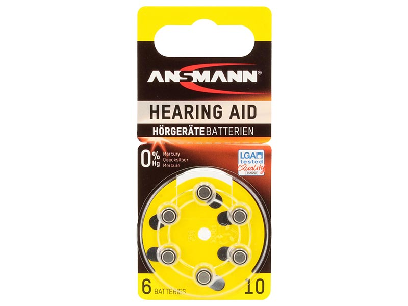 ANSMANN Zinc Air 10 - Pack of 6,Non - Rechargeable Batteries,Hearing Aid Batteries