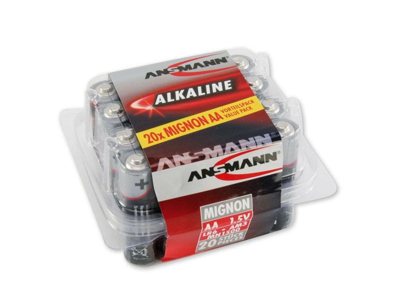 ANSMANN Mignon - AA size - Plastic Tub of 20,Non - Rechargeable Batteries,Red Line Alkaline Range
