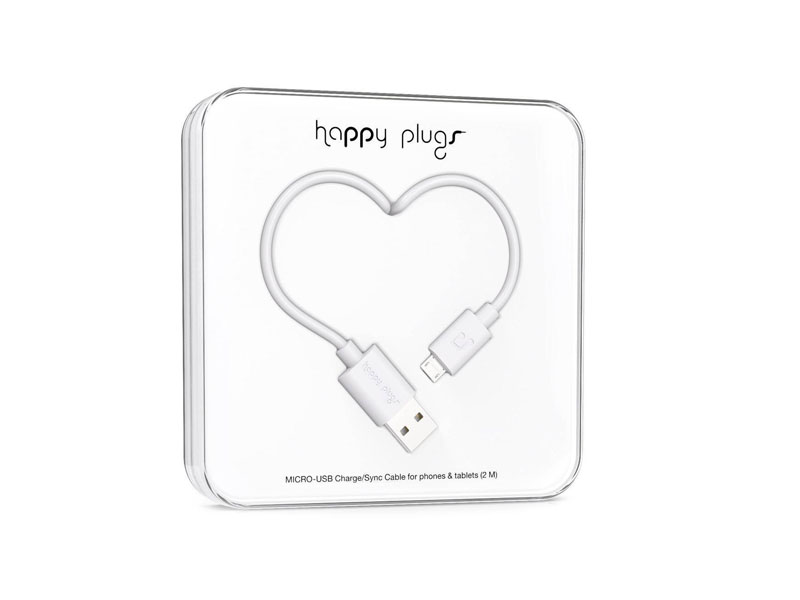Happy Plugs Micro-USB to USB Charge/Sync Cable (2.0m) - White