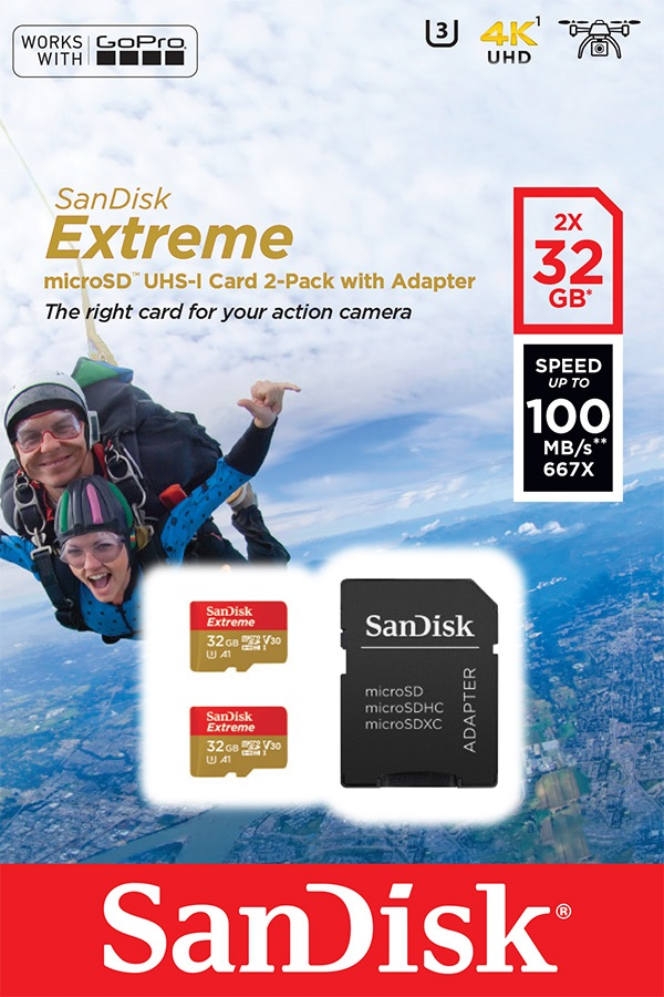 Sandisk Extreme microSDHC 32GB + SD Adapter for Action Sports Cam - TWIN PACK