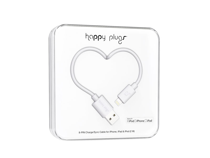 Happy Plugs Lightning to USB Charge/Sync Cable (2.0m) - White