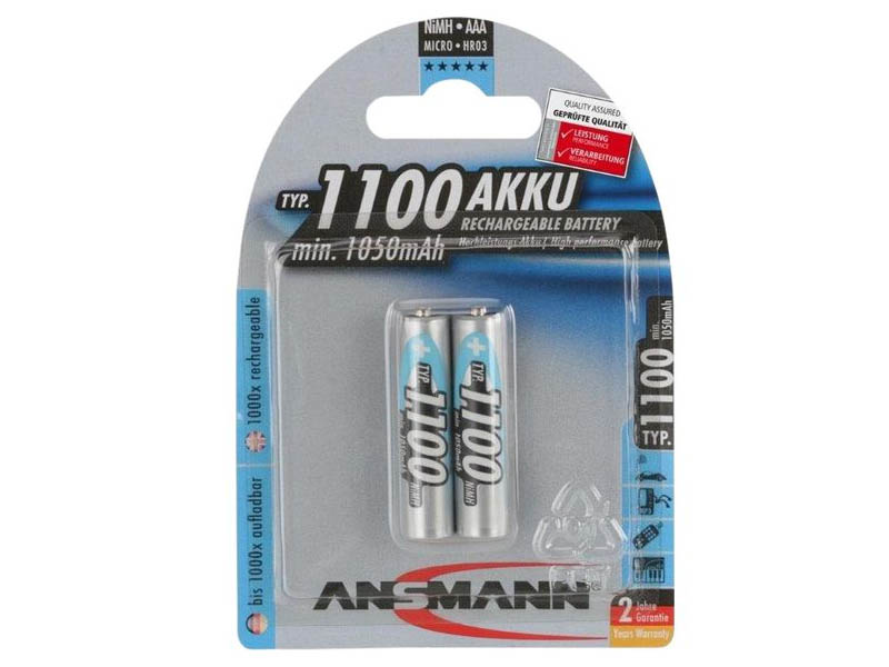ANSMANN Micro - AAA size - Pack of 2,NiMH Rechargeable Batteries