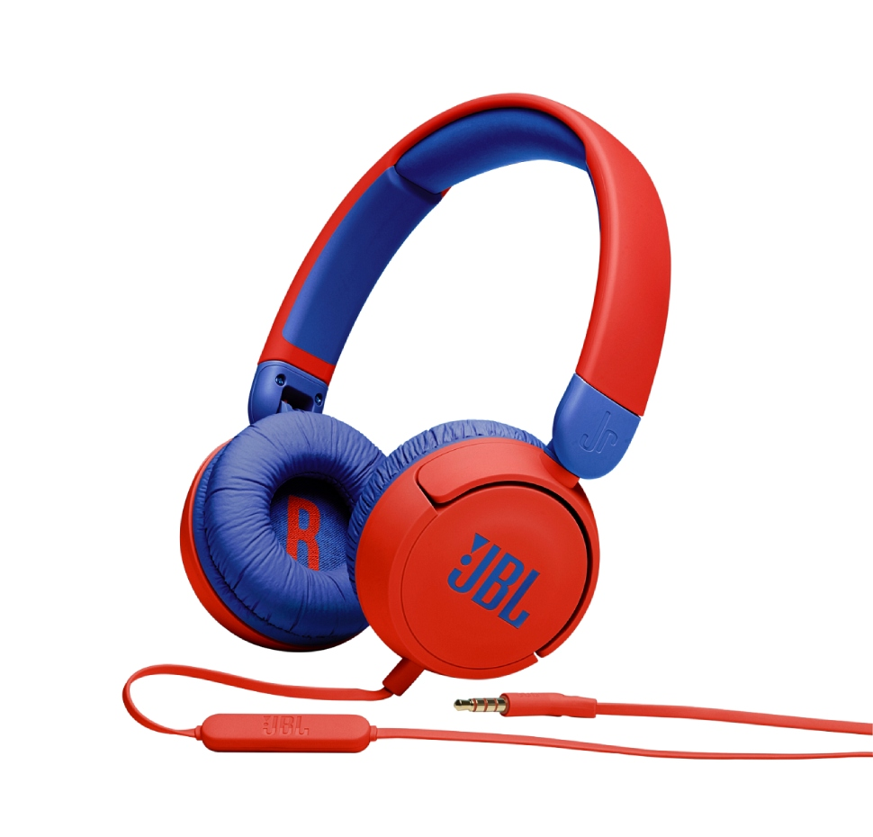 JBL JR310, On-Ear Headphones for Kids, Universal (Red)