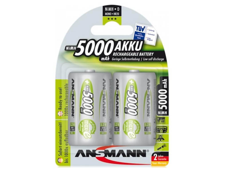 ANSMANN Mono - D size - Pack of 2,NiMH Rechargeable Batteries